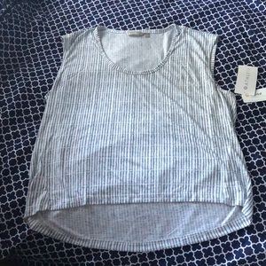 Athleta Gray/White High Low Tank NWT